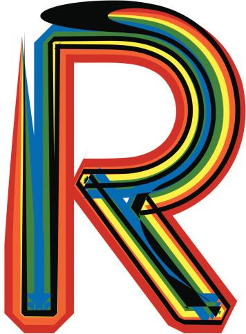 colorful font letter R